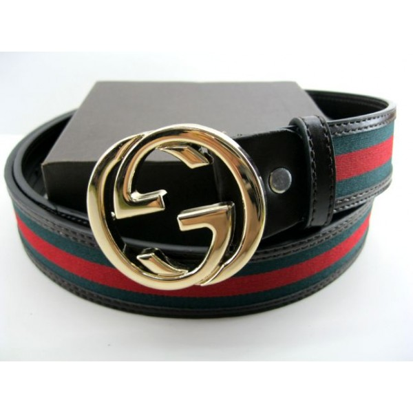 Green And red lines Men Leather Belt