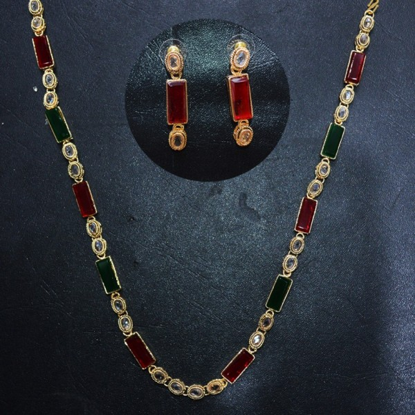 Red and Green Stone Necklace Set with Ear Rings