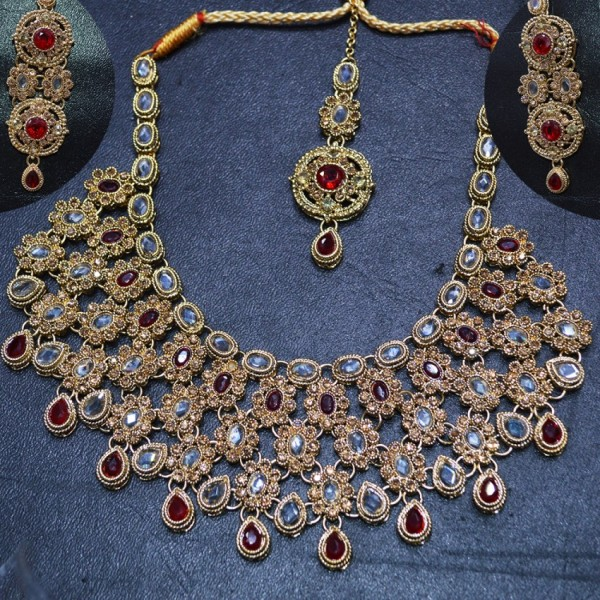 Red Stone Necklace Set with Ear Rings