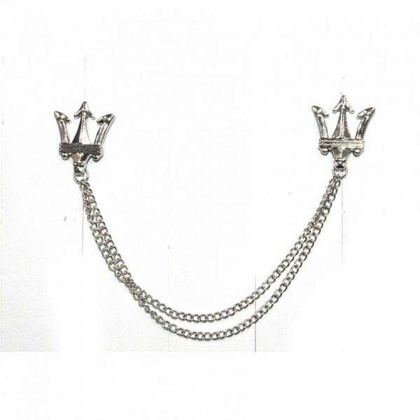 Silver Crown Brooch