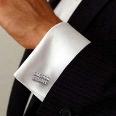 Stylish Slim Cufflinks with White Stones