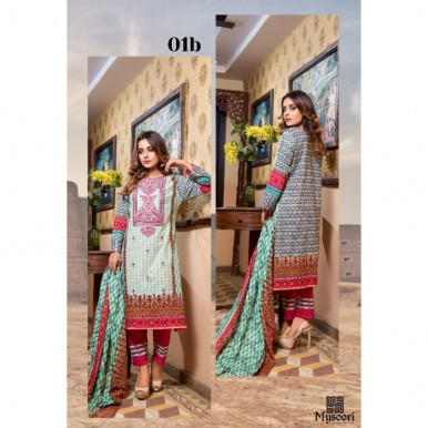 Mysoori - KHADDI Embroidered Lawn Dress with Embroidered Lawn Dupatta - 1b