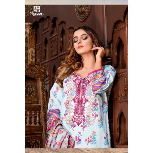 Mysoori - KHADDI Embroidered Lawn Dress with Embroidered Lawn Dupatta - 4b