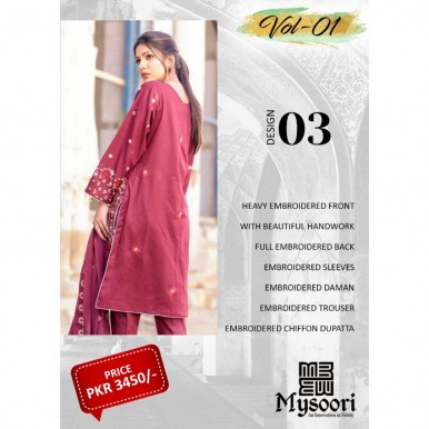 Hoorain Fatima Embroidered Lawn Collection 2020 with Handwork by Mysoori - Design 03