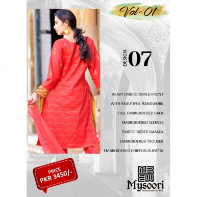 Red Color Hoorain Fatima Embroidered Lawn Collection 2020 with Handwork by Mysoori - Design 07