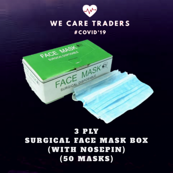 Surgical 3 Layer Face Mask with Nosepin - Pack of 50 masks