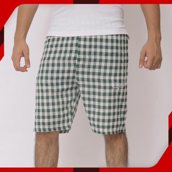 Green White Cotton Shorts