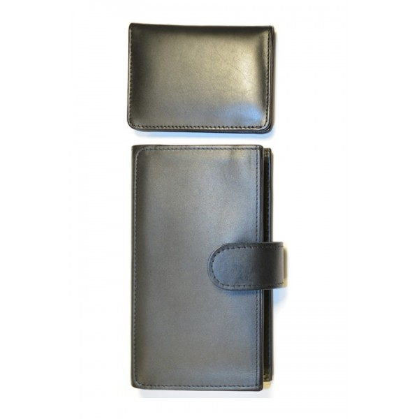 Black Genuine Leather Travel Pouch and Cardholder Set