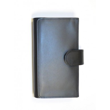 Black Genuine Leather Travel Pouch and Wallet Set for Men