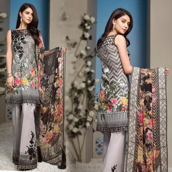 Women heavy ebmroided linen 3piece suit winter collection