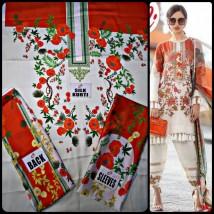 Red & White Silk Fabric Kurti