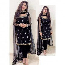 Sajjal Ali Chiffon Black unstitch Embroidery Suit