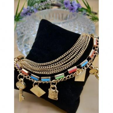 Stylish Multi color with 5 key lock chain bracelet