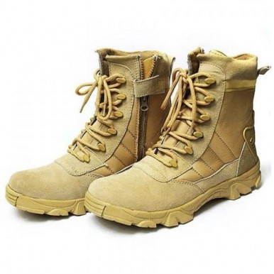 Beige Suede Army Boots for Men