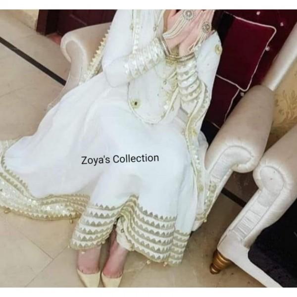 Off white colour 3 piece stitch dress