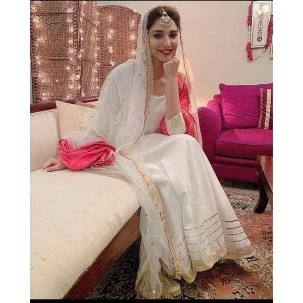 Party Wear Gotta work Linen off White dress With Kiran Lace Dupatta