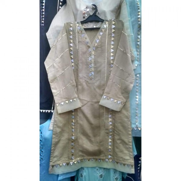 Offwhite and silver colour dress.Fancy lace work on dress.3 piece