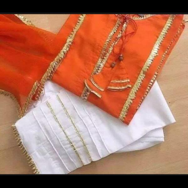 Orange and white color Gotta patti dress for girls