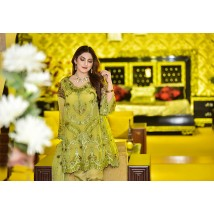 Chartreuse Empire  Vol-1 Luxury Chiffon Embroidered Dress