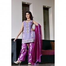 Purple Pure Chiffon Embroidered Dress for Womens