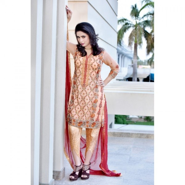 Pure Chiffon Embroidered Dress With Red Dupatta