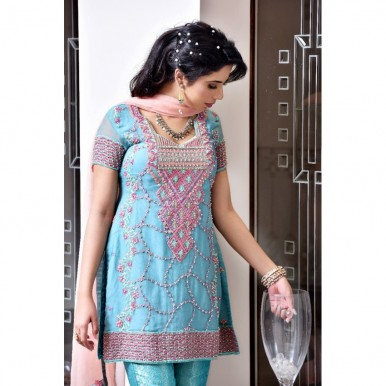Pure Chiffon Embroidered Dress For Womens