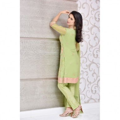 Pure Chiffon Embroidered Dress With pink Borders