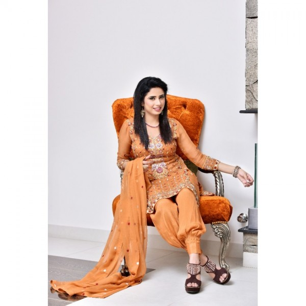 Chiffon pure  Embroidered Suit