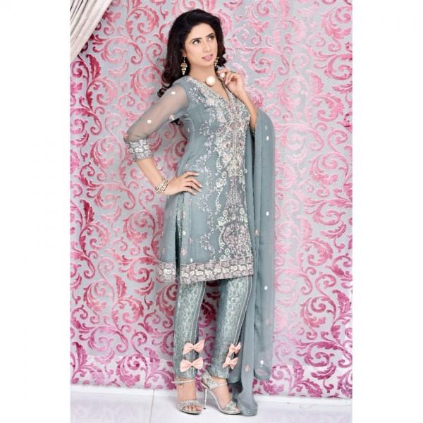 Gray  Pure Chiffon Embroidered Dress