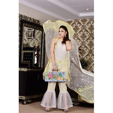 French Vanilla Vol-1 Luxury Chiffon Embroidered Dress