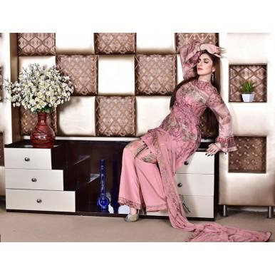 Fuchsia Mock Luxury Chiffon Embroidered Dress
