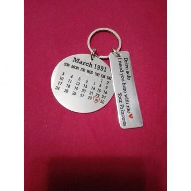 Customized Metallic Calendar and Message Keychain