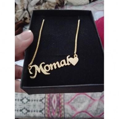 Momal Name Neckalce in Golden color