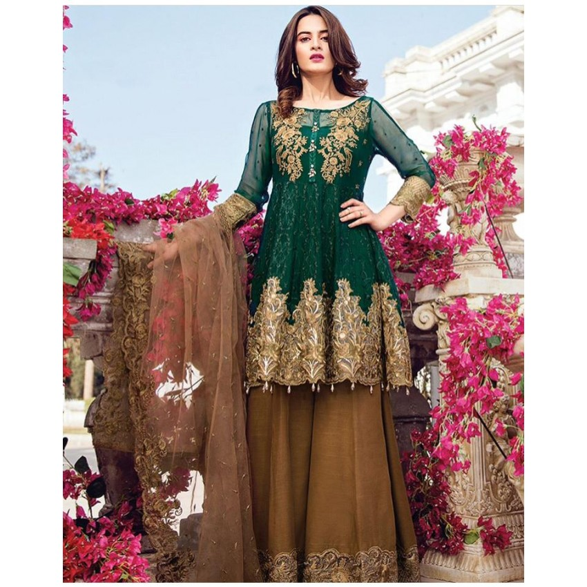 Chiffon Embroidered Dress With Net Embroidered Dopatta Lb Fr