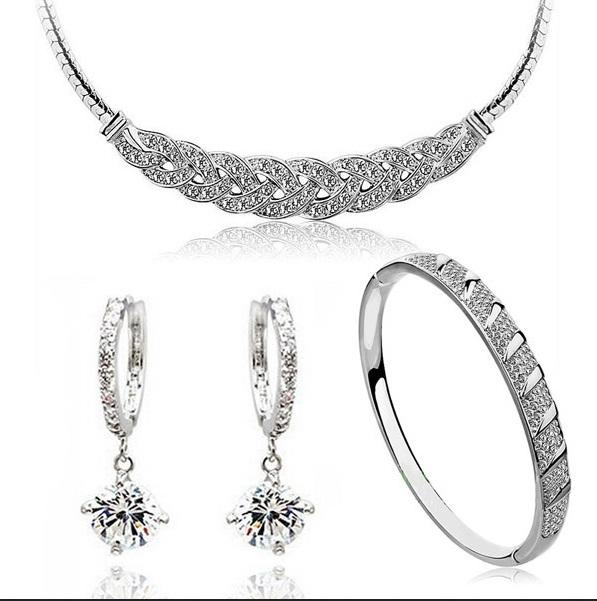 bridal jewelery set zircon decorative white gold plated