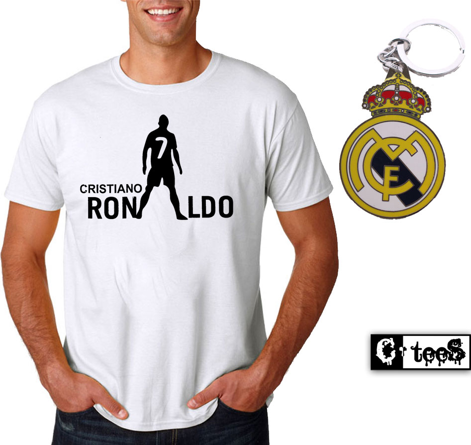 cristiano ronaldo t shirt and metal keychain. Black Bedroom Furniture Sets. Home Design Ideas