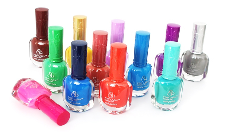Pack of 12 peel off nail polish