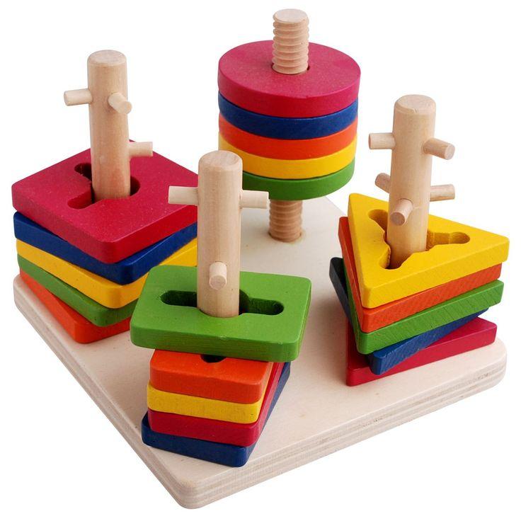 Kids Educational Toy Column Shapes Stacking Block
