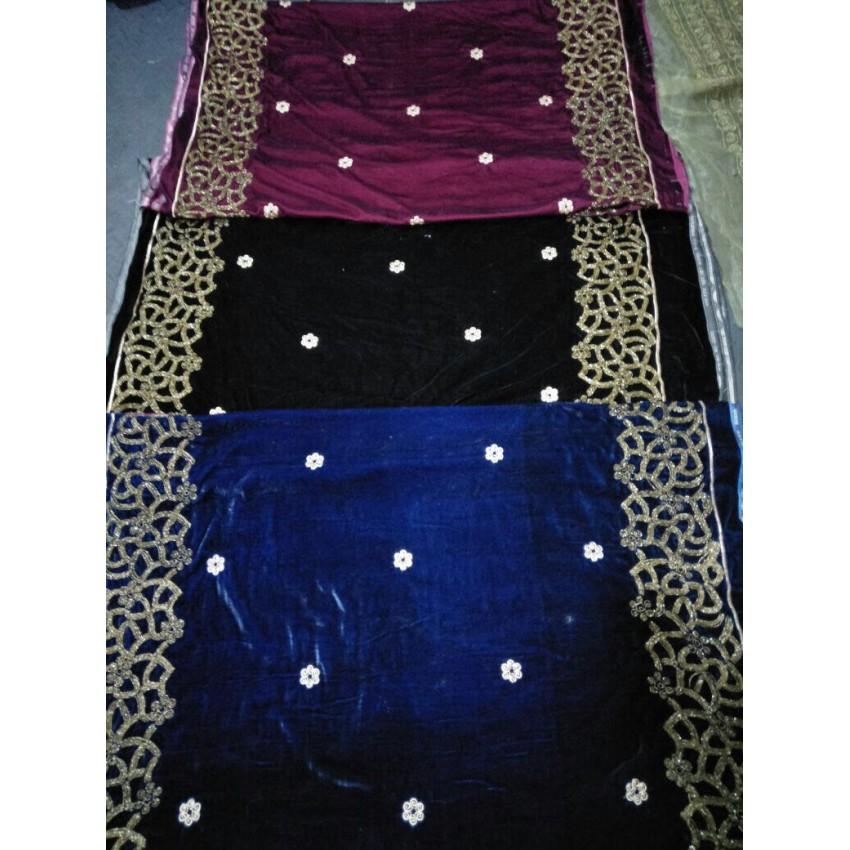 Embroidered Velvet Shawl For Women