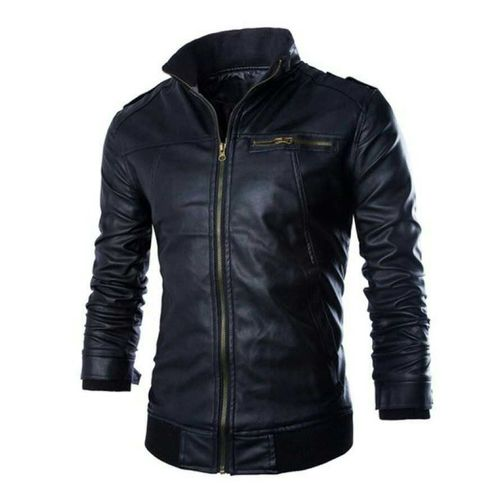 Buy Leather Jacket For Men High Collar Style In Black