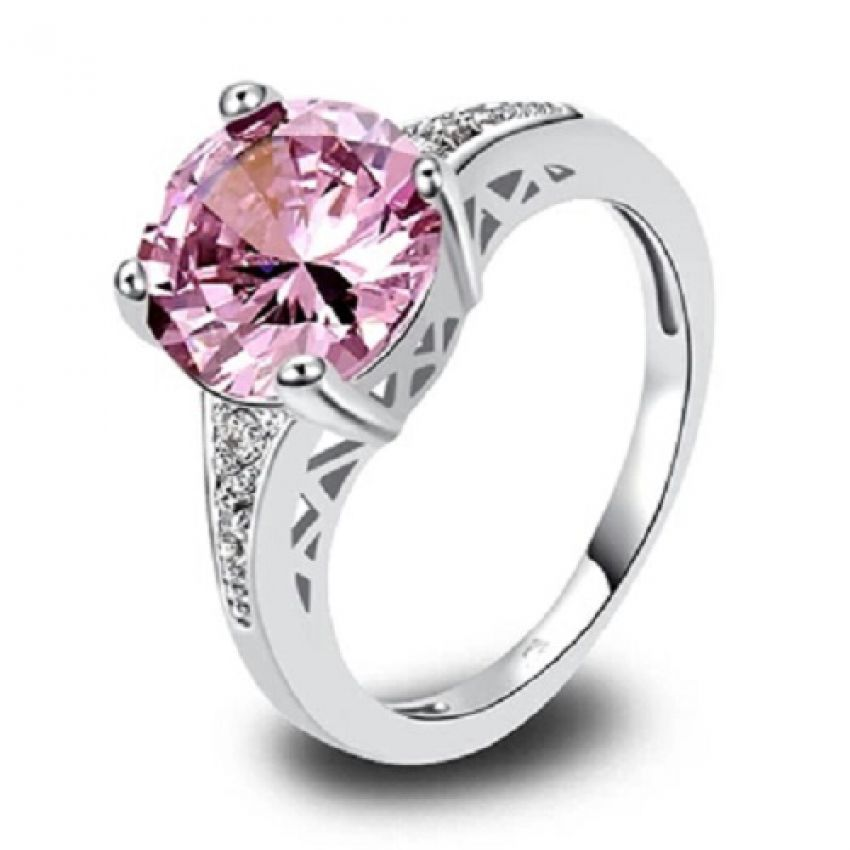 Valentine Special - Silver Pink stone ring For Loved Ones
