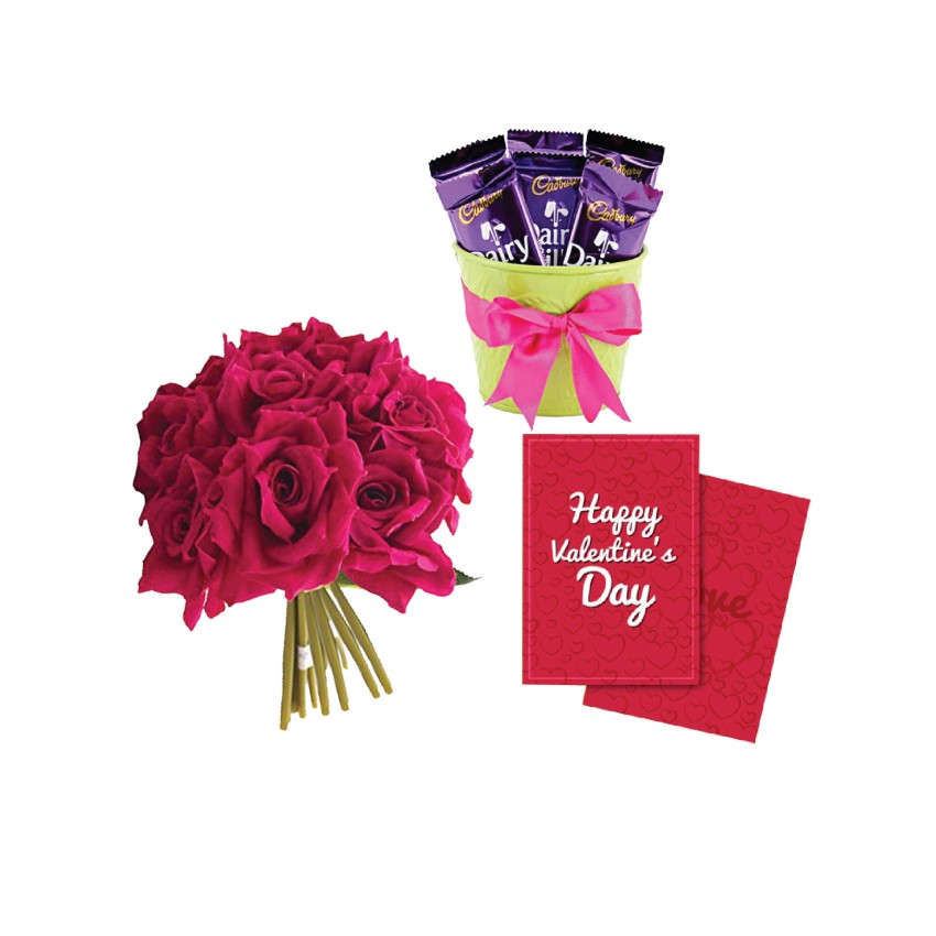 buy 3 chocolates 5 artificial red roses with valentine day