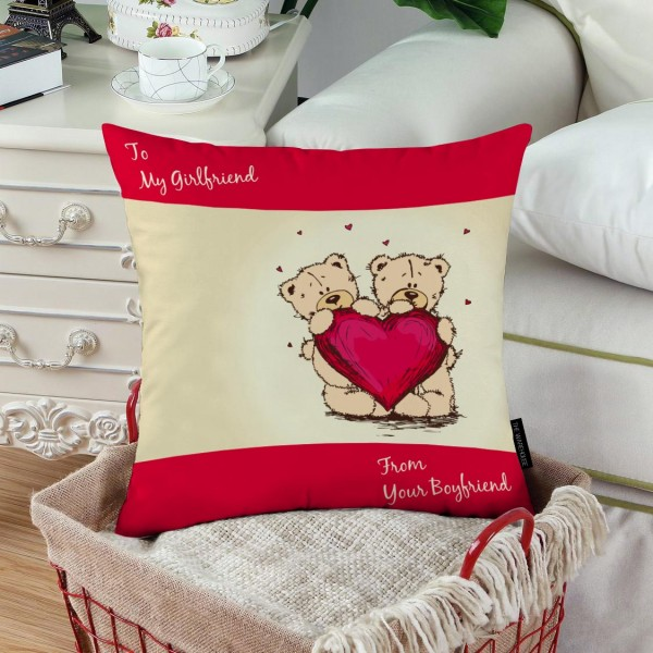 TEDDY BEAR HEART PRINTED PILLOW