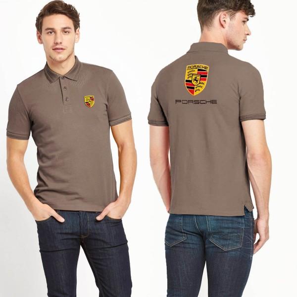 Men porsche polo shirt light brown for Light brown polo shirt